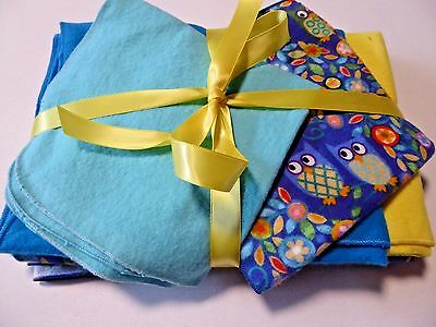 Baby Blanket sets;1 Receiving, 2 burp, & 2 wash cloths; Blue/yellow owls