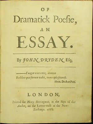 John Dryden OF DRAMATICK POESIE 1668 Shakespeare Jonson 1ST EDITION RARE NO RES