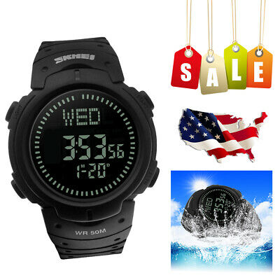 Men's Male's Electronic Compass Countdown LED Digital Wrist Military Watch Black