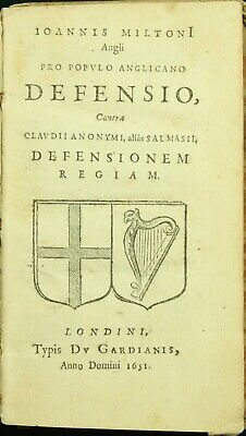 John Milton PRO POPULO ANGLICANO DEFENSIO 1651 English Civil War Regicide 1ST NR