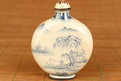 rare chinese old cloisonne hand painting landscape tree snuff bottle