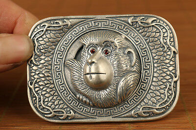 unique solid s925 silver hand carved monkey statue buckle collectable