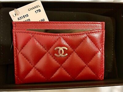 cdeed23dc94d BNIB Chanel 17B RARE Authentic Classic Caviar Red Card Holder w/ SHW CC