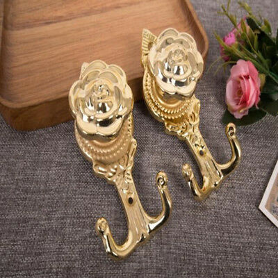 Alloy European Rose Flower Shape Wall Hooks Bags Curtain Tie Home Supplies B