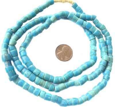Fine Antique African Ghana Old Teal Krobo Powder Glass Trade Beads-Collectible
