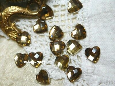 (169)*costume Makers Sellout*flat Back Rhinestones*hearts*pale Gold*new!*