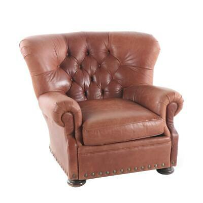 Admirable Brown Leather Wingback Chair With Head To Head Nails Caraccident5 Cool Chair Designs And Ideas Caraccident5Info