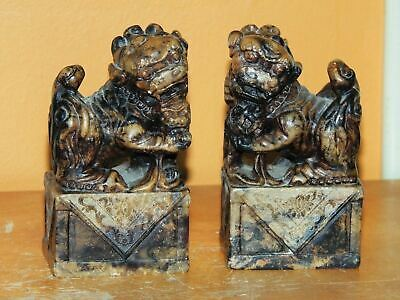 "Chinese 3.5"" Shi Foo Dogs & pup Guardian Lions Hardstone Stone Antique Vintage"