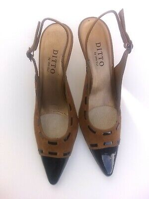 ab782ac6cef5 DITTO By Van Eli Slingback Heels Size 7M Suede Brown Black Pointed Toe Shoes
