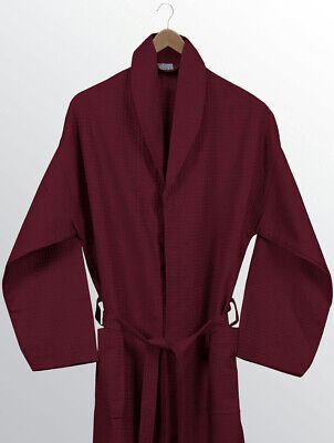 Burgundy Egyptian House Collection 100% Cotton Waffle Bathrobe Bath Robe Maroon
