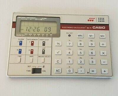 Vintage CASIO Electronic Calculator & Watch ML-75 Melody Made in Japan