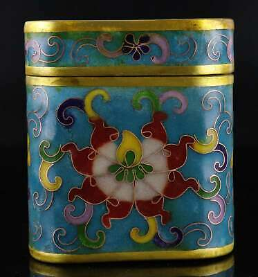 Collect Qianlong Years Old Cloisonne Carve Blooming Flower Delicate Storage Box