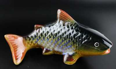 Qianlong Years Porcelain Carved Lifelike Carp Fish Delicate Decorate Big Statue