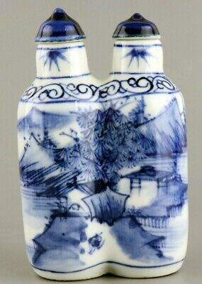 Collectable Old Porcelain Paint Landscapes Delicate Qianlong Years Snuff Bottle