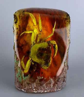 Collectable Old Decorate Amber Internal Inlay Strong Crab Unique Delicate Statue