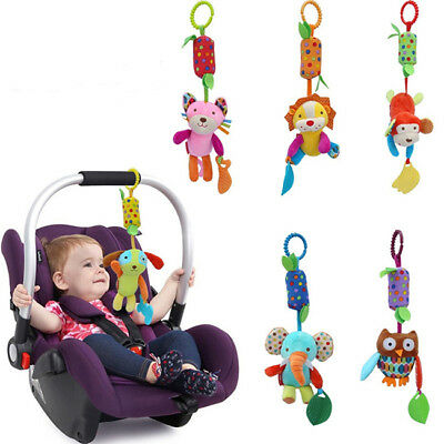 Baby Infant Bed Stroller Soft Plush Cartoon Rattle Music Hanging Bell Toy New B