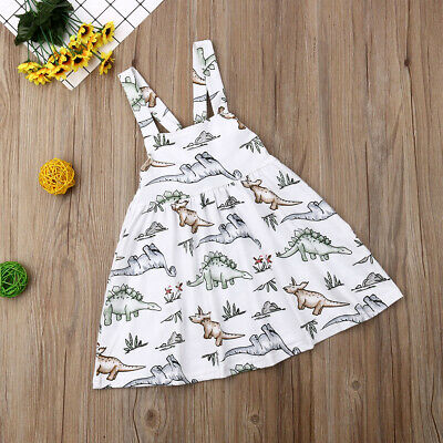New Kid Baby Girl Dinosaur Sling Dress Princess Tutu Dresses Clothes Casual 0-4Y