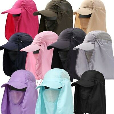 Men UV Protection Outdoor Ear Flap Neck Cover Sun Hat Cap Fishing Hunting Hiking