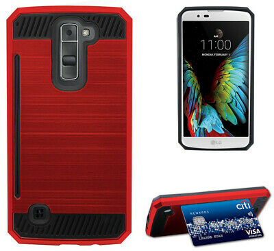 RED RUGGED TPU RUBBER HARD SHELL CASE STAND COVER FOR LG K7 and LG TRIBUTE 5