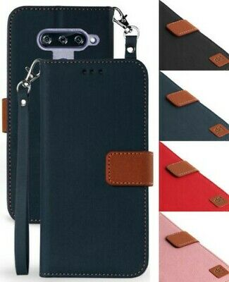 Durable Wallet Case ID Credit Card Slot Cover Stand Wrist Strap for LG V40 ThinQ