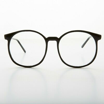 1980s Oversized Black Round Secretary Eyeglasses - Smarty