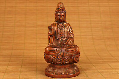 chinese old boxwood hand carved buddha kwan-yin statue collectable