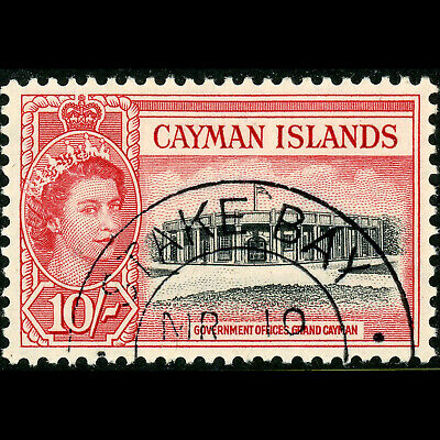 CAYMAN ISLANDS 1953-62 10s Black & Rose Red. SG 161. Fine Used. (W0764)