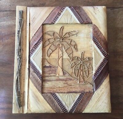 Vintage Collectable Artisan Created Wood Plant Rice Paper Photograph Album