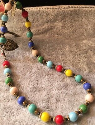 Beautiful Vintage Antique Colourful Harlequin Glass Ball Bead brass Necklace JA
