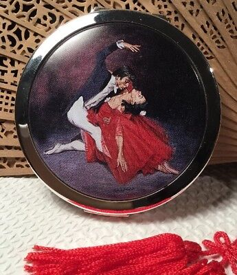 Vintage Collectable 60s Stratton Spanish Flamenco Dancers Vanity powder Compact