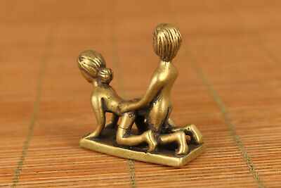 chinese old brass hand carved sexual culture statue netsuke
