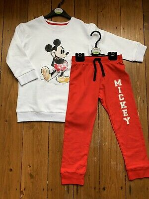 Girls Disney Marks and Spencer Pyjamas Mickey Mouse Red and White