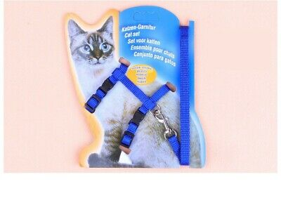Cat -Rabbit-Kitten Adjustable Harness & Lead BLUE - Adjustable Nylon Pet Cat