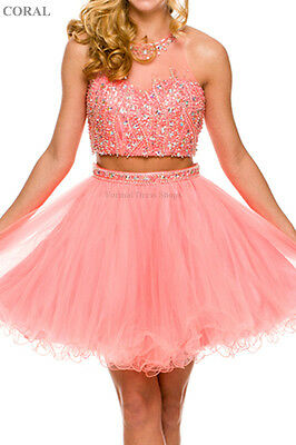 Two Piece Unique Short Dresses Homecoming Prom Dance Semi Formal Sweet 16 Party