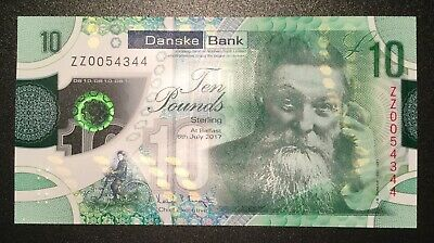 Northern Ireland Danske Bank £10 2019 polymer note, replacement prefix ZZ,AU-UNC