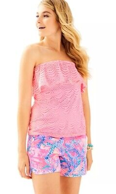 f8a750c59b NWT Lilly Pulitzer Wiley Tube Top Resort Coral Reef Scalloped Shell Lace  XXS  98
