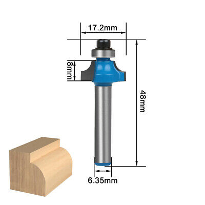 """7Pcs Round Over Edging Router Bit Set Woodworking Milling Cutter with 1/4"""" Shank"""