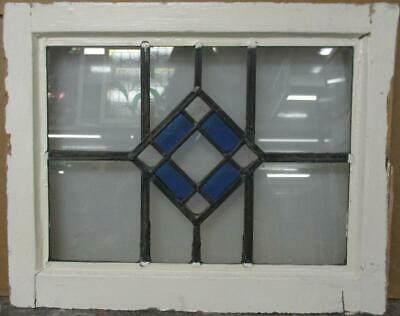 """OLD ENGLISH LEADED STAINED GLASS WINDOW Simple Diamond Design 21"""" x 16.75"""""""