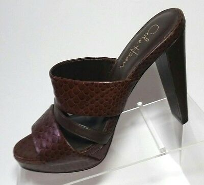 5318f8de5f7 Cole Haan Brown Open Toed Mules Leather Snakeskin Exotic Print 7B Brazil