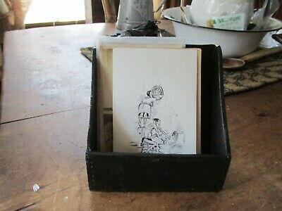 Antique Primitive Litttle Black Wall Box With Old Postcards