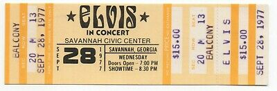 Original 1977 Elvis Presley The King Unused Savannah Ga Concert Ticket Balcony