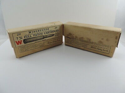 TWO VINTAGE WINCHESTER Cardboard Ammo Boxes 7mm Full Patch Empty Boxes