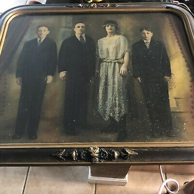 "Antique 19th Century 23"" X19""  Picture Frame with Glass of Ancestor Family"