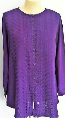 Purple embroidery anglaise Buttoned Long Tunic top Size 14-16 detailed fabric
