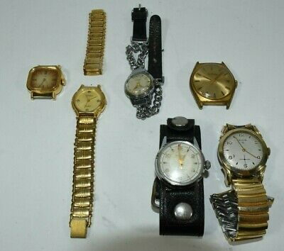 Lot 6 Wristwatches 2 Dufonte 1 Elgin 1 Timex 1 Geraldy 1 Military Style Westclox