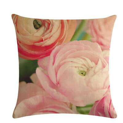 Trendy Home Decoration Pink Flower Series Linen Pillow Case Cushion Cover L