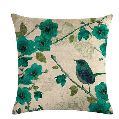 Leaf Bird Printed Gray Square Pillow Case Home Supplies Throw Cushion Cover L