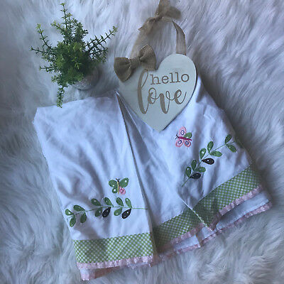 Pottery Barn Kids Baby Girl's Butterfly Pink Green Floral Embroidered Crib Skirt