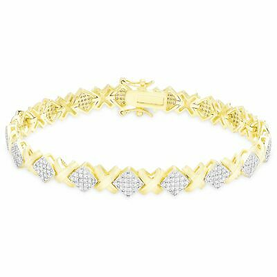 Finesque Gold Over Silver or Sterling Silver 1 1/2 CT TDW Diamond XO Bracelet