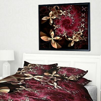 Designart 'Yellow and Red Fractal Flower Pattern' Abstract Wall Art Framed